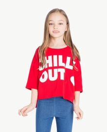"Printed sweatshirt Two-tone Pomegranate Red / ""Papyrus"" White Child GS82KA-02"