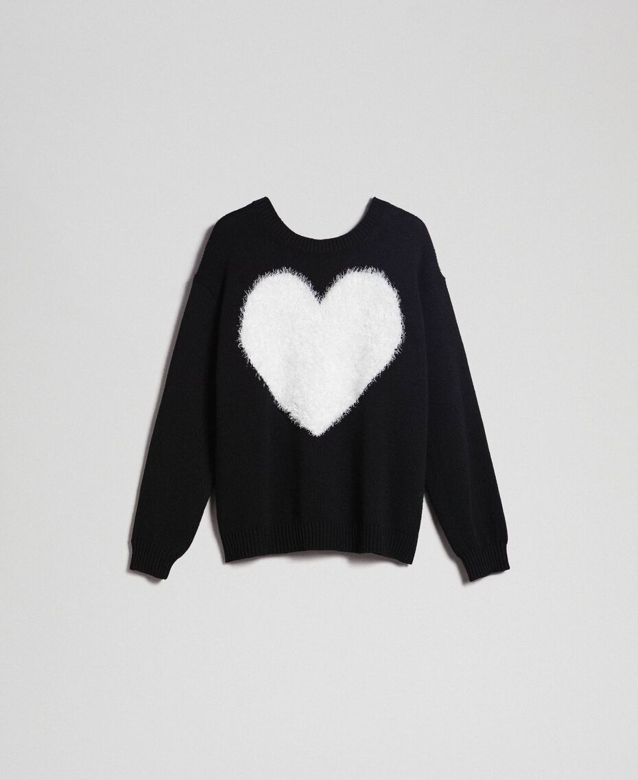 Cardigan-Pullover mit Herz Zweifarbig Schwarz / Schneeweiß Frau 192TP3320-0S