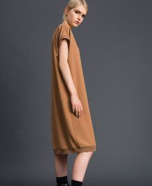 "Crêpe de Chine dress with logo print ""Sequoia"" Beige Woman 192ST2081-02"