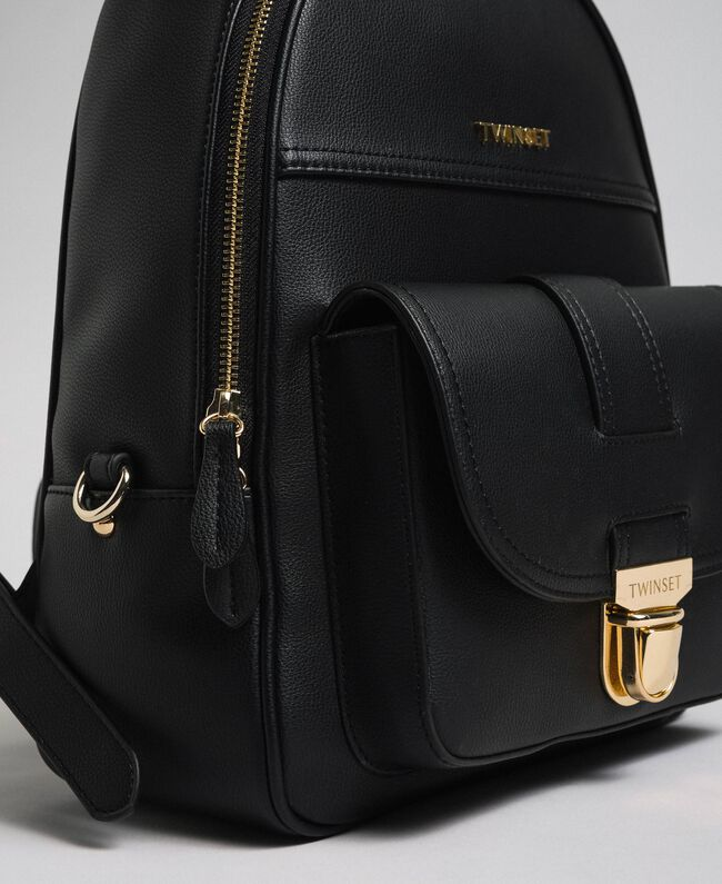Faux leather backpack Black Woman 192TA7133-04