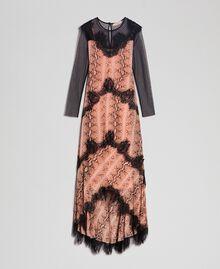 Animal print georgette long dress Canyon Pink Python Print Woman 192TT2271-0S