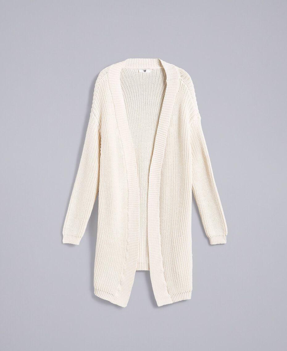 Maxi cotton and wool cardigan Blanc Woman IA87AA-0S