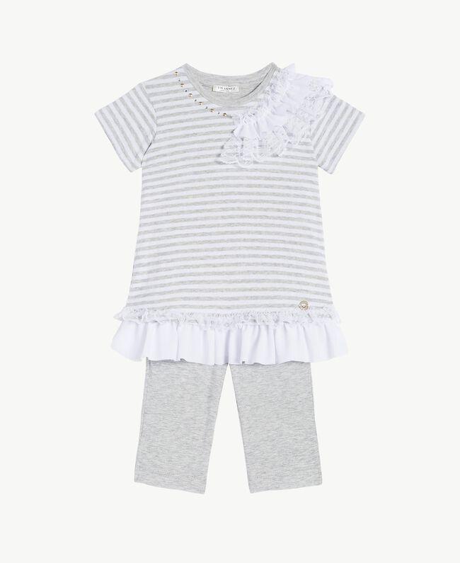 "Embroidered set ""Papyrus"" White / Melange Grey / Chantilly Child FS82UB-01"