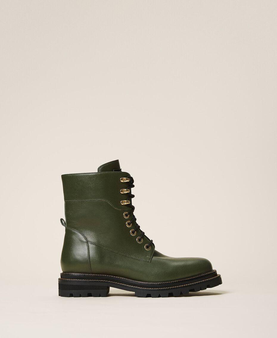 Кожаные ботинки-амфибии на шнуровке Черный женщина 202TCP182-01