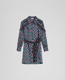 Bedrucktes Hemdblusenkleid mit Gürtel Geometrischer Fuchsprint Frau 192ST2141-0S