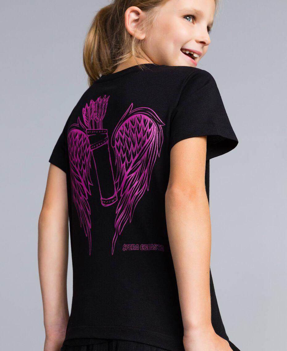 T-shirt unisexe junior en coton avec imprimé Noir Enfant QA8TMP-0S