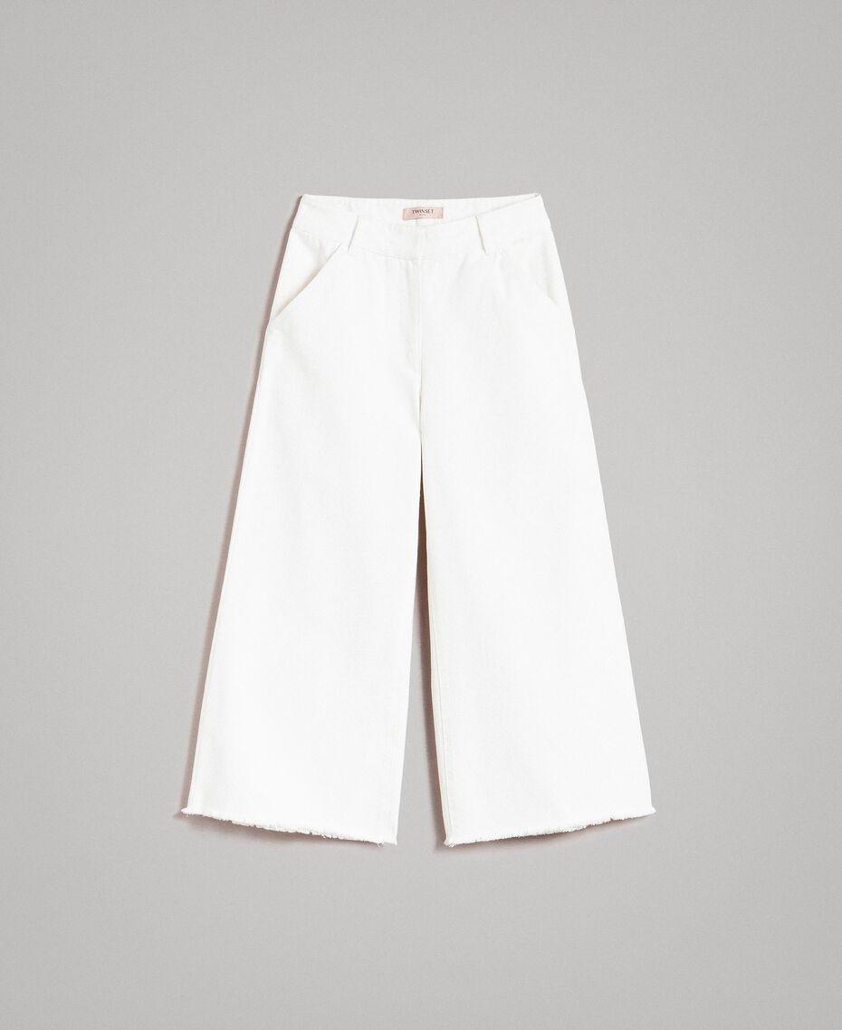 Weite Hose aus Baumwolle Weiß Schnee Frau 191TP2191-0S