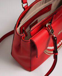 Borsa shopper in similpelle con perle e catene Rosso Papavero Donna 192MA7053-05