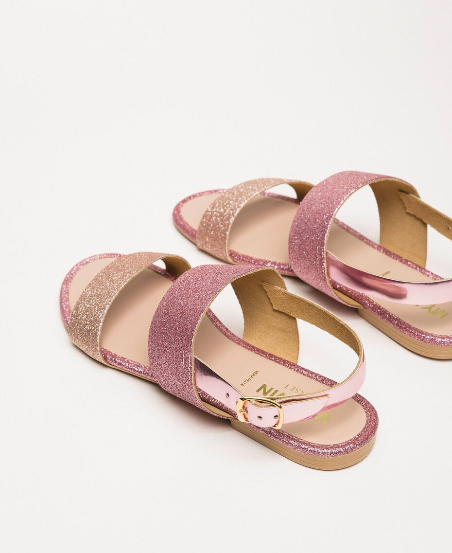 Flache Sandale mit Glitzer Puder Glitzer Frau 201MCT014-03