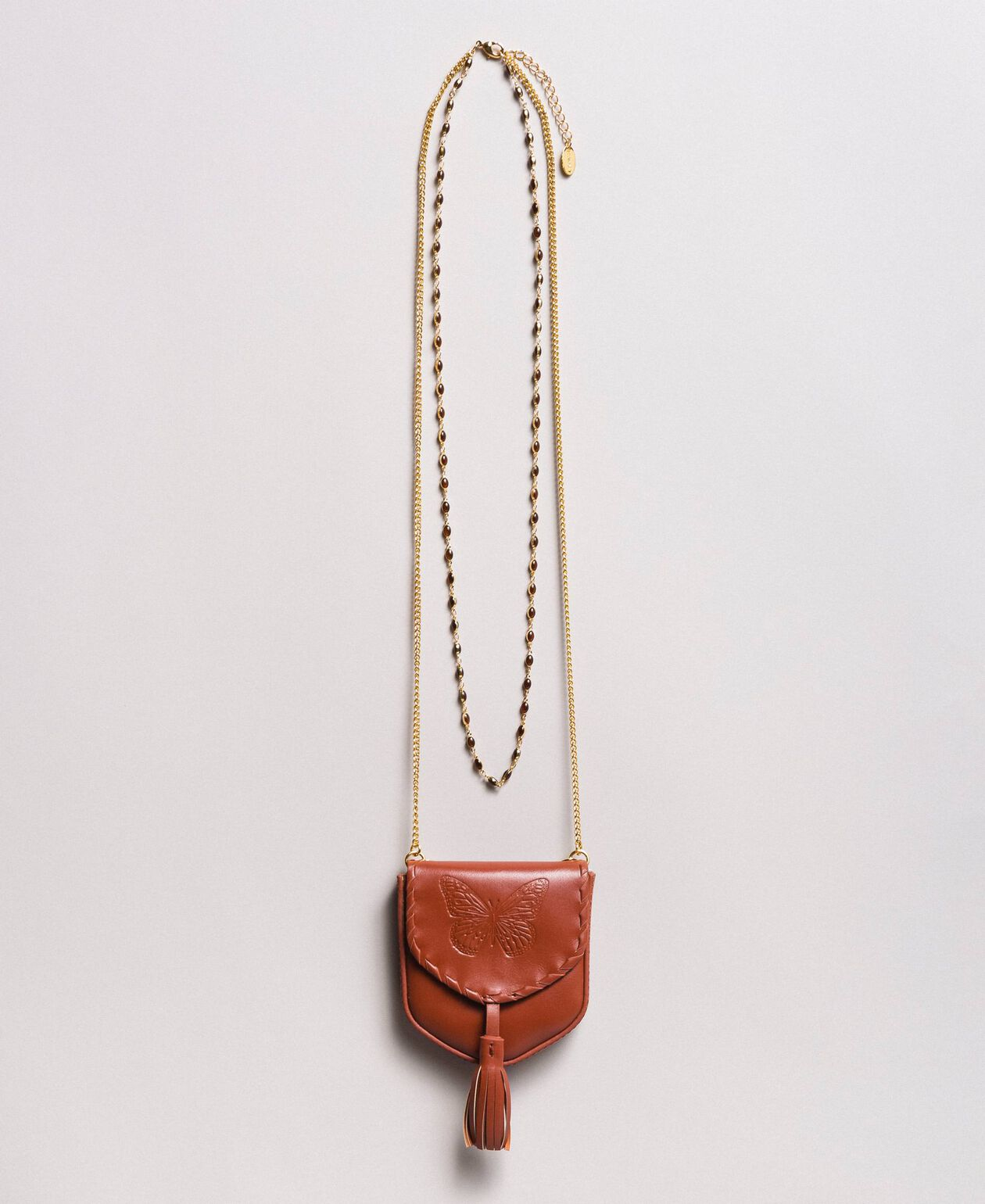 Leather coin purse necklace Leather Brown Woman 191TO5345-01