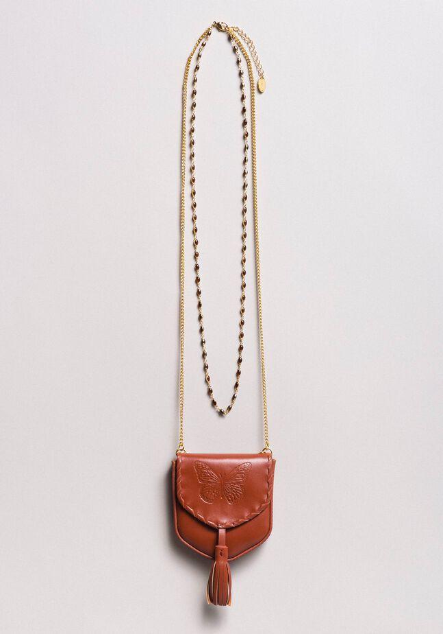 Collier à porte-monnaie en cuir