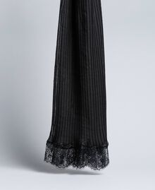 Pleated scarf with lace Black Woman AA8P12-01