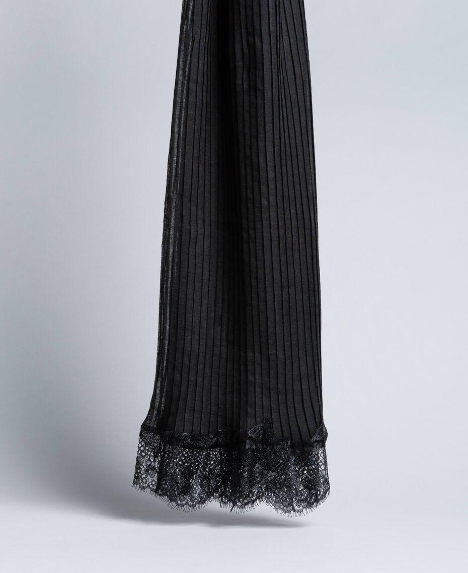 Плиссированный шарф с кружевом Черный женщина AA8P12-01