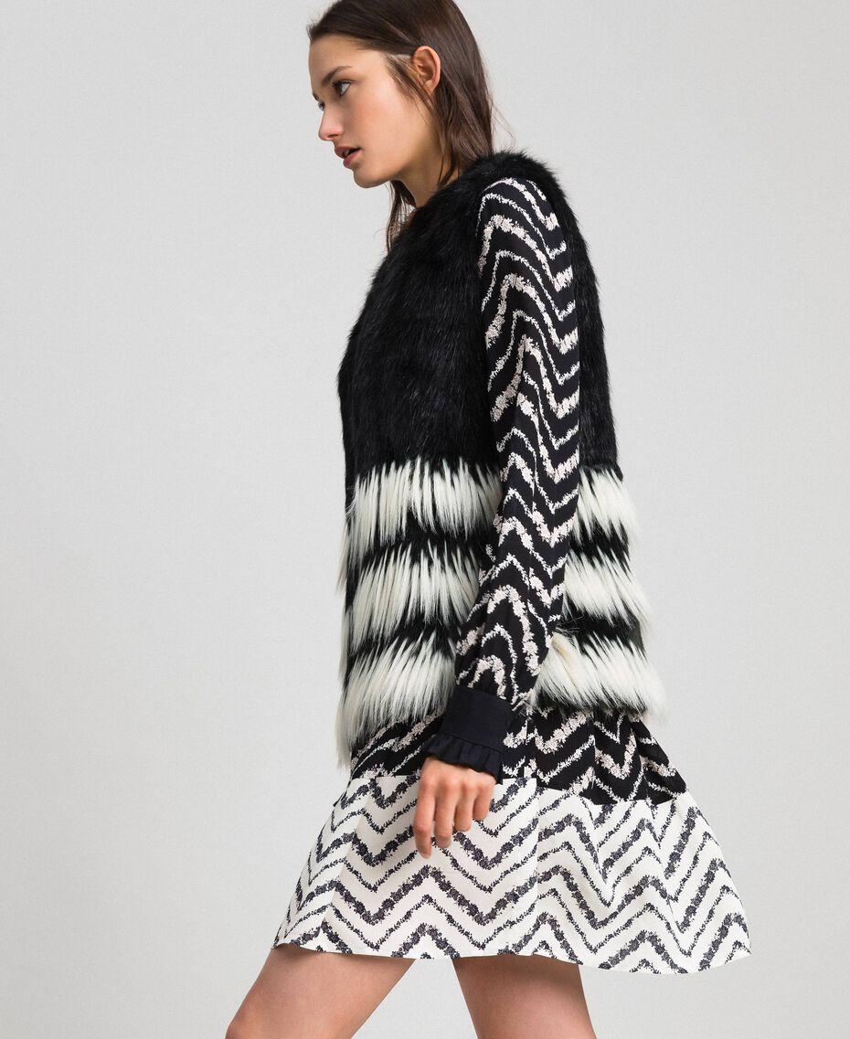 Two-tone faux fur waistcoat Black Woman 192TP2390-01