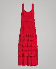 """Robe longue en crêpe georgette volanté Rouge """"Rouge à Lèvres"""" Femme 191TT3022-0S"""
