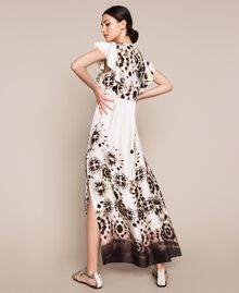 Printed satin long dress Black Unevenly Dyed Print Woman 201LB2GMM-01