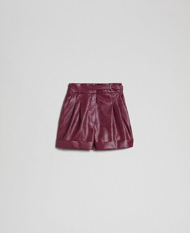 Shorts aus Lederimitat Samtrot Frau 192TT203A-0S