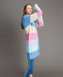 Maxi cardigan rayé Multicolore Couleur Pastel Femme 191MP3010-01