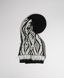 """Wool and cashmere scarf with fringes Ethnic """"Iced Coffee"""" Brown/ Beet Red Jacquard Woman 192TA4418-01"""
