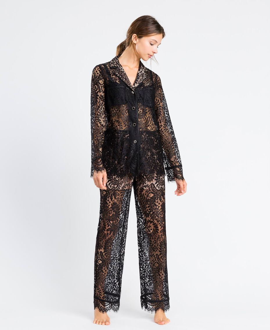 Scalloped lace trousers Black Woman IA8CRR-0S