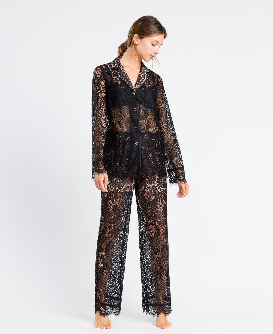 Pantaloni in pizzo smerlato Nero Donna IA8CRR-0S