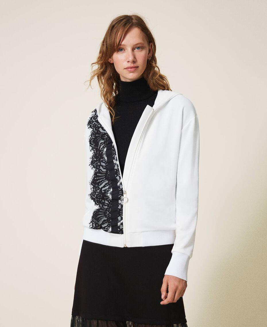 Scalloped lace sweatshirt White Woman 202LI2NHH-02