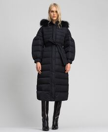 Long quilted padded jacket with real down Black Woman 192TT2173-01