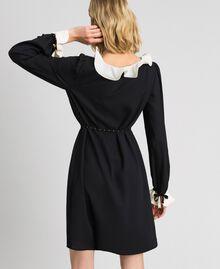 Kleid aus Crêpe de Chine mit Volants Schwarz Frau 192MP2164-03