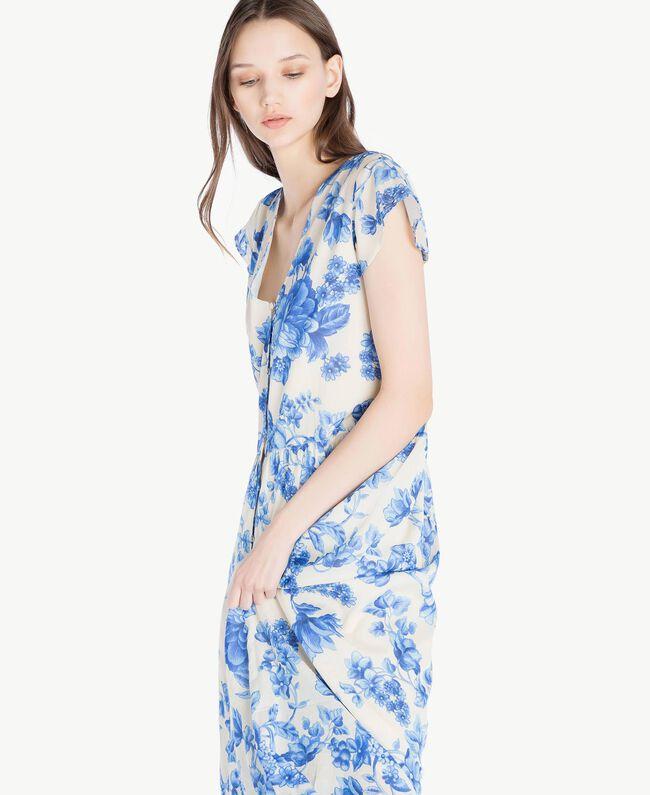 Robe longue imprimée Imprimé Porcelaines Bleu Marine «Pivoine» Femme SS82MR-04