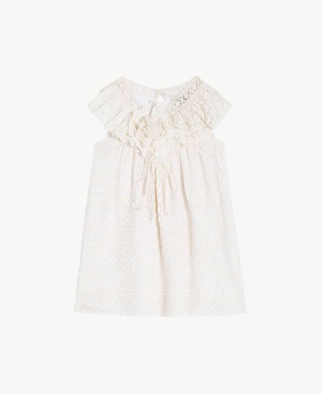 """Abito pizzo Bicolor Bianco """"Papers"""" / Chantilly Bambina FS82X2-01"""