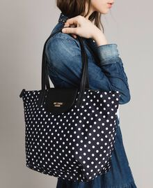 Polka dot foldable shopper bag White / Black Polka Dot Print Woman 191MA7120-0S