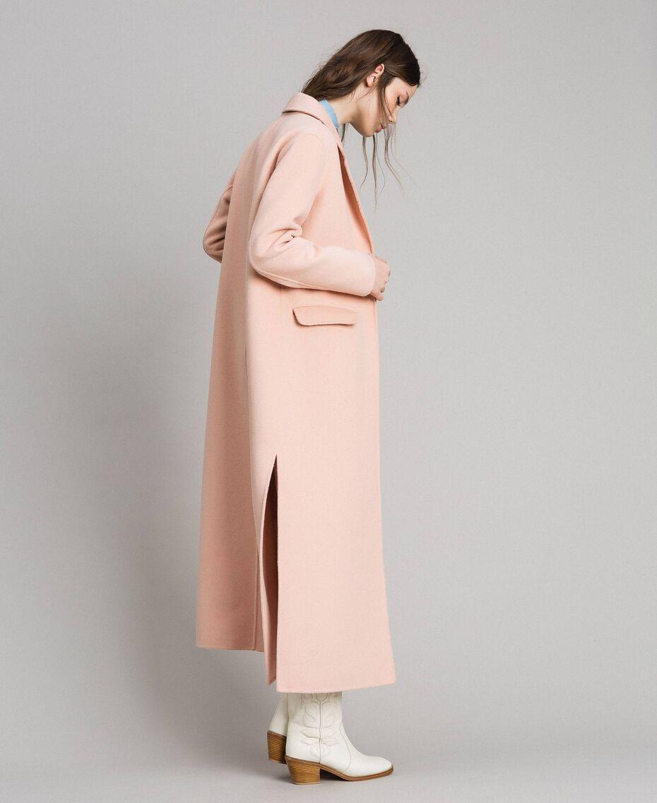 Langer Mantel aus Doppelwolltuch Nudebeige Frau 191TP2480-01