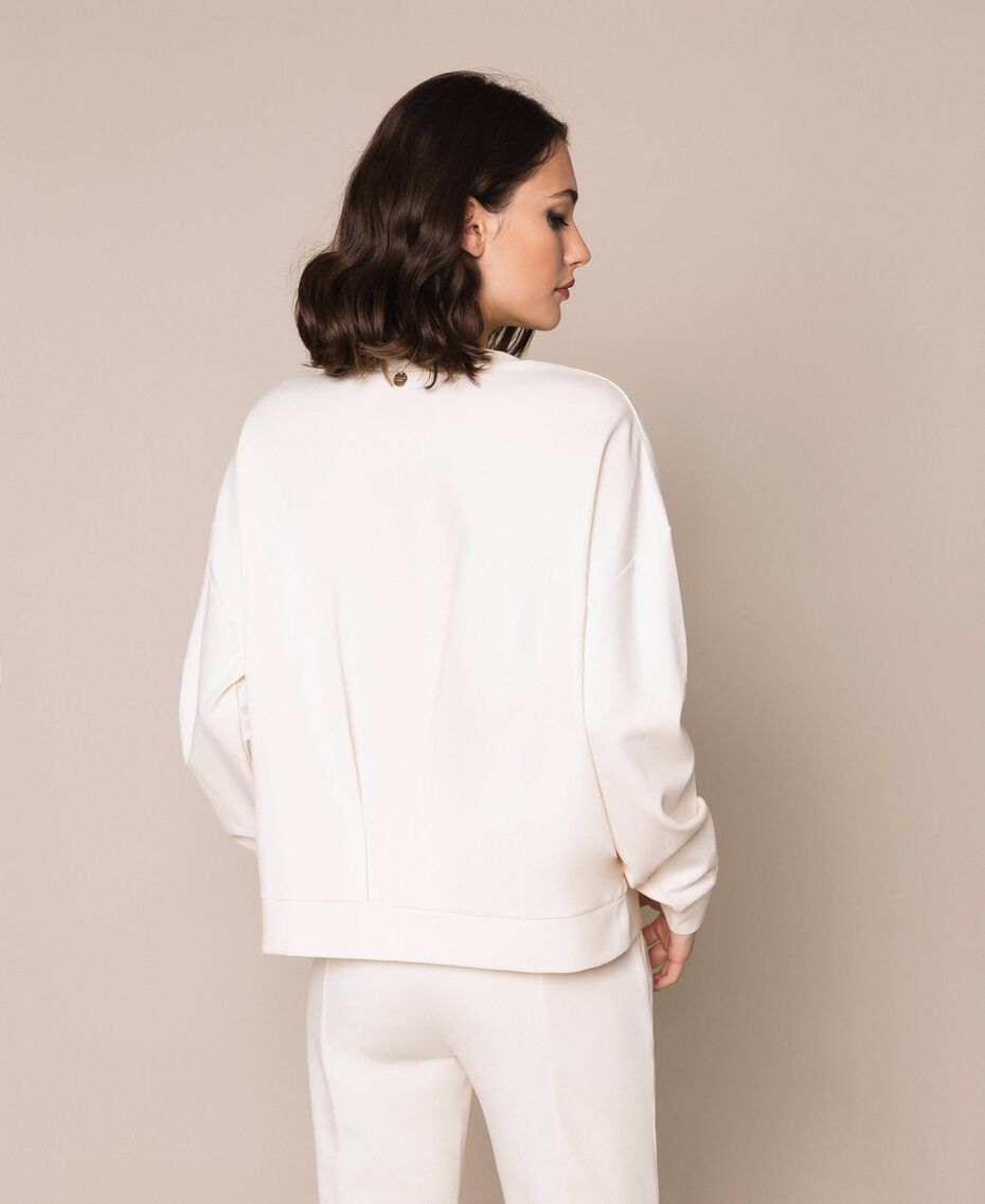 """Sweatshirt with full sequin embroidery """"Silk"""" White Woman 201ST2051-03"""