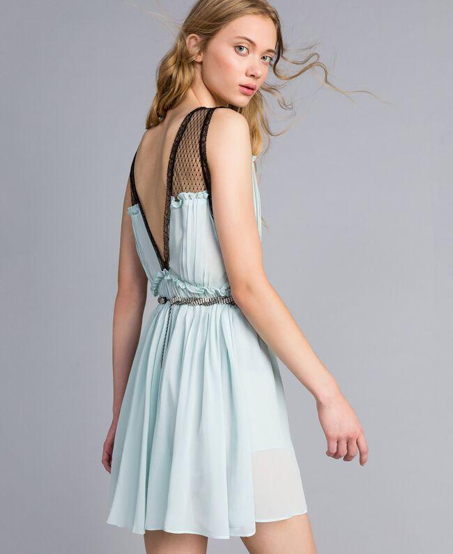 """Kleid mit floralem Print Blau """"Wasser"""" Frau QA8TNB-03"""