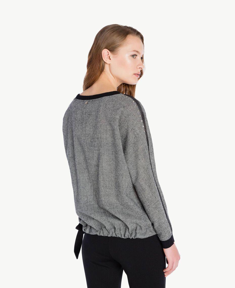 Bluse mit Nieten Grau Melange TA7283-03