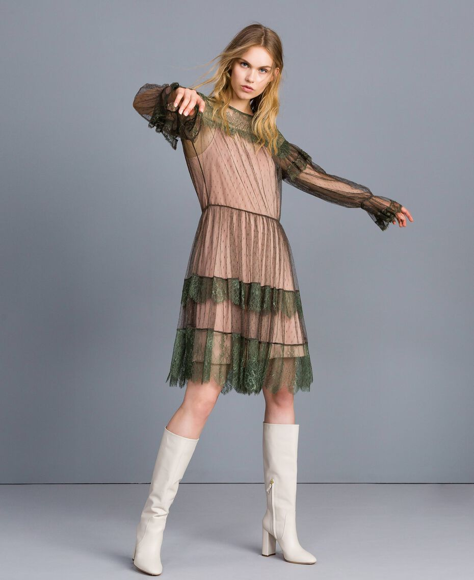 Tulle plumetis and lace dress Forest Green Woman TA82XB-02