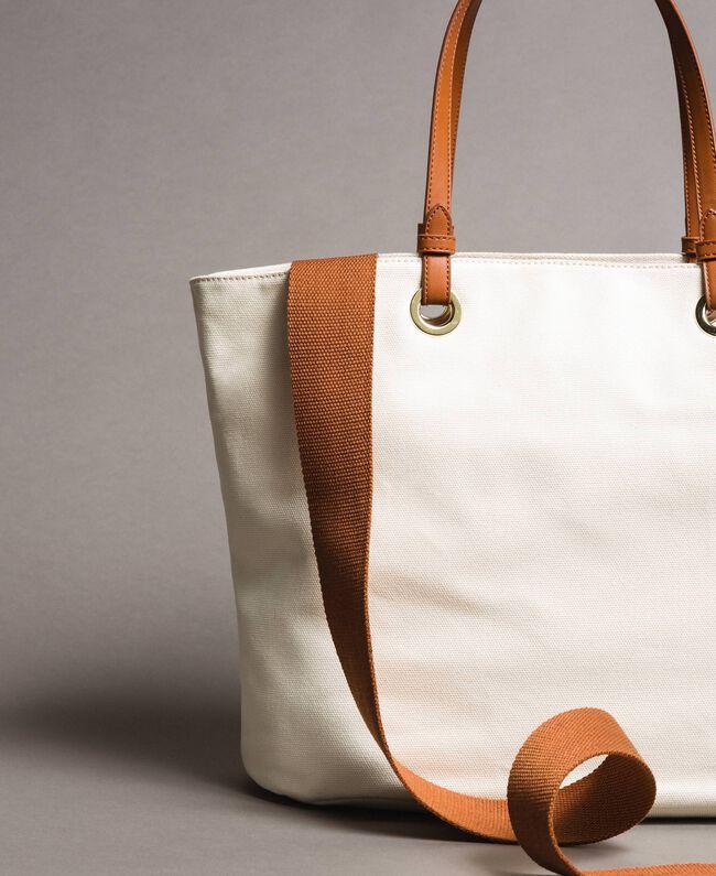 Großer Shopper aus Canvas mit Logo Schwarz Frau 191TO8202-03