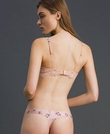 """Floral print G-string with lace """"Peach"""" Pink Tiny Flower Print Woman 192LL6K88-03"""