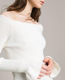 Pullover mit Streifendessin Weiß Schnee Frau 191TP3272-05