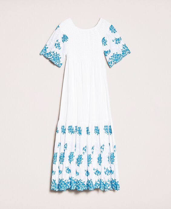 Long scalloped dress with embroideries