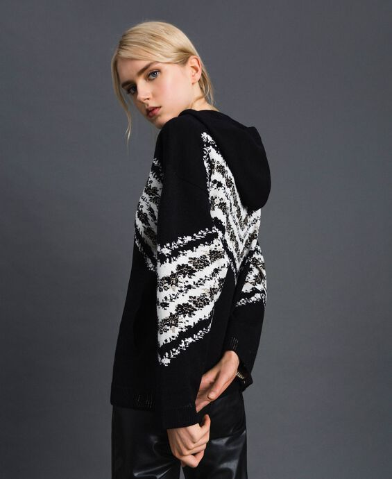Jacquard bomber jacket with floral chevron pattern