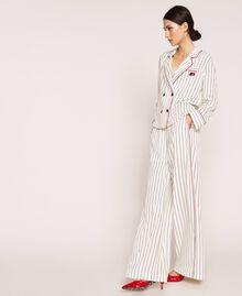 Striped crêpe de Chine shirt Vanilla / Black Stripes Woman 201MP2100-0T