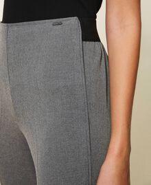 Pantalon cigarette avec liseré Gris moyen chiné Femme 202ST2204-05