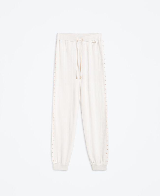 Pantalon de jogging en laine mélangée Blanc Femme IA8ALL-01