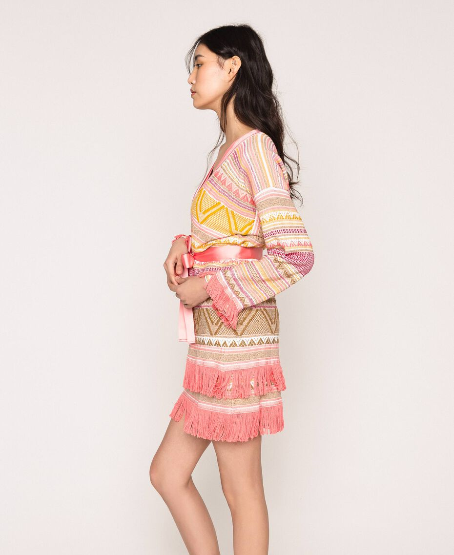 Maxi cardigan à franges Jacquard Multicolore Rose Femme 201TT3161-02