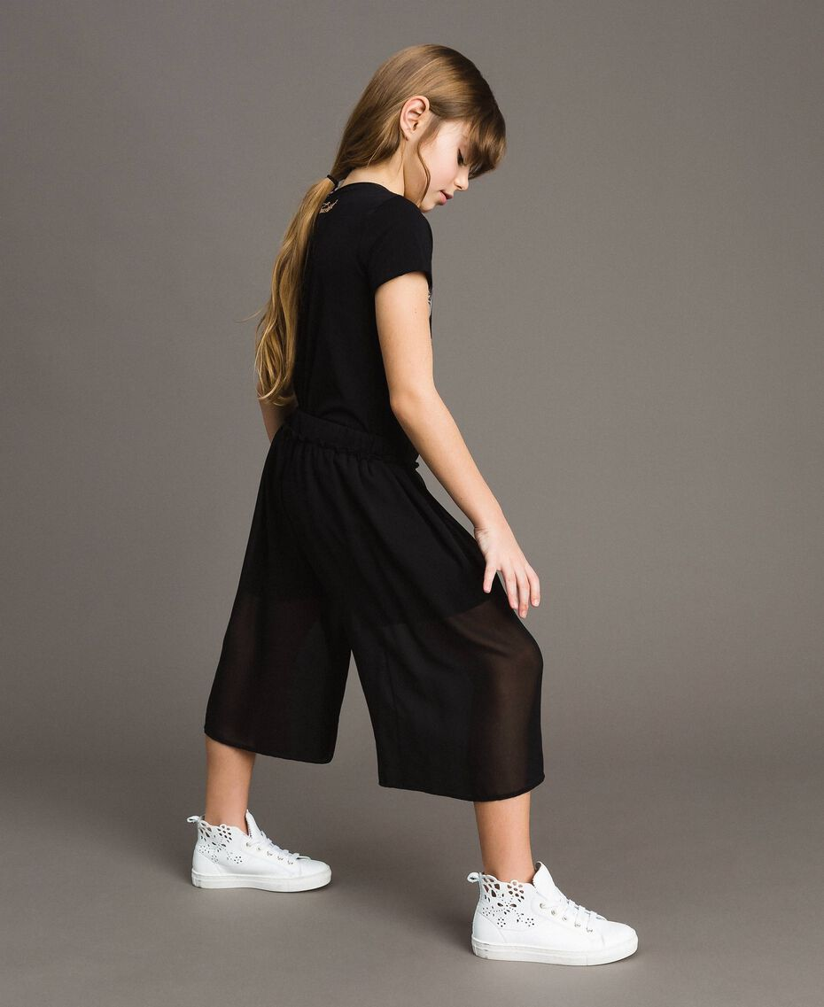 Georgette cropped trousers Black Child 191GJ2091-02