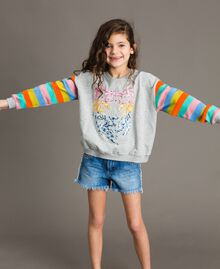 Cotton knitted striped sweatshirt Melange Grey / Multicolour Striping Child 191GJ2451-05
