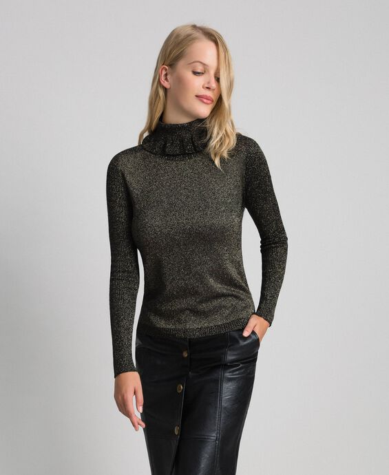 Ribbed lurex mock turtle neck