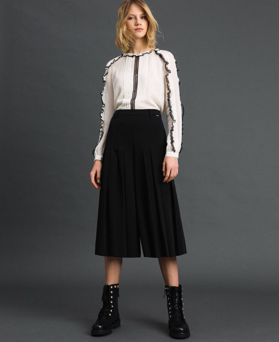 Trouser-skirt with pleats and logo Black Woman 192ST2164-01