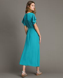 Silk blend long dress Tile Blue Woman 191TT2079-03